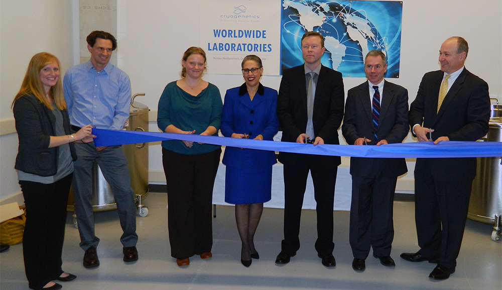 Ribbon cutting ceremony at Cryogenetics Inc. From left: M. Aguirre (Cryogenetics Inc.), C.Miller (Cryogenetics Inc.), C.Carmichael (Cryogenetics Inc.), S.W.Bannister (MLSC), J.Ulheim (Cryogenetics), Woburn Mayor S.Galvin and P.Abair (MassBio).